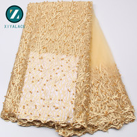 Latest French Lace 2017 Gold Bridal Beaded Trim High Quality French Lace Embroidery Nigerian Lace Fabrics