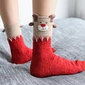 1pair Female Women Hot Sale Christmas Deer Design Casual Knit Wool Socks Warm Autumn And Winter Women Lowest Price Free Shipping