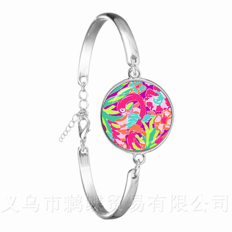 Lulu Flamingo Bird Bracelet Animals 18mm Glass Dome Bangle Handmade Jewelry Best Gifts For Women Girls Creative Gift