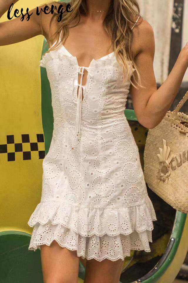 a4b9a103389a9 lessverge White embroidery lace up mini dress women Sexy v neck hollow out  ruffled summer dress Casual short dress vestidos