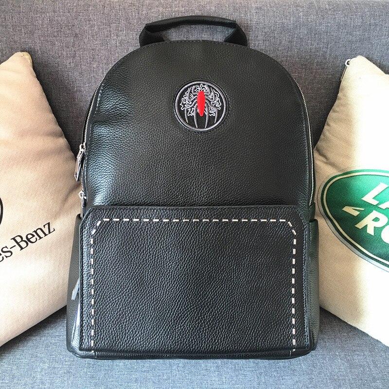 Kaisiludi cuir double sac à bandoulière grande capacité sac à dos hommes et femmes sac d'ordinateur affaires simple sac de voyage