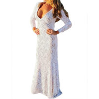 Europe And America Lace Dresses Deep V Neck Sexy Dress Casual Casual White Color Beach Women