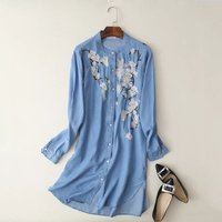 New 2017 Vintage Flower Embroidery Tencel Denim Long Women Blouse Shirts Feminine Stand Collar Long Sleeve