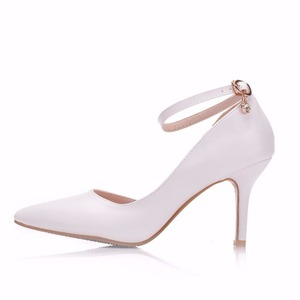 Image 2 - Crystal Queen Women White  Heels Sexy Wedding White Shoes Fetish 8cm High Heels Lady Stiletto Plus Size Pumps Sandals