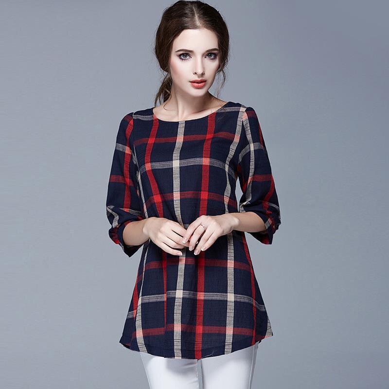 2019 женская весна и топы блузка женские топы Блузки Плюс Размер женский рубашки плед блузки одежда женская 137A 20