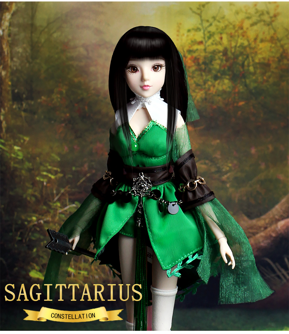 MMG Girl fortune days BJD doll 12 constellations Sagittarius with green outfit shoes stand necklace arrow joint body toy gift