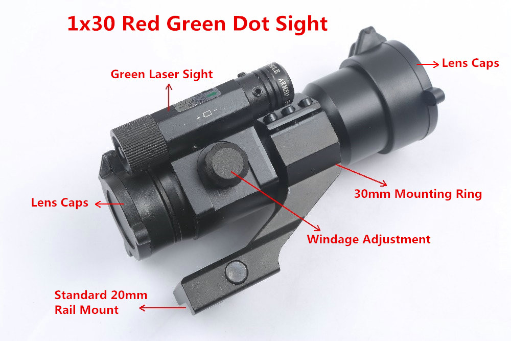 Tactical 1x30 Red Green Dot Sight Optical Scope with Green Laser Sight 30mm Mount Rail Ring for Hunting Riflescope Rifle Gun tactial qd release rifle scope 3 9x32 1maol mil dot hunting riflescope with sun shade tactical optical sight tube equipment