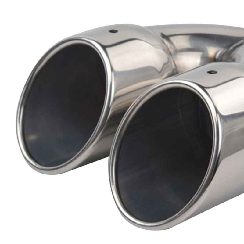 muffler exhaust dual exhaust tip tailpipe 2 5 inch inlet 3 outlet 8 1 length polished stainless 1 2mm thickness double wall s