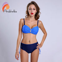 Andzhelika L 4XL New Bikini Set Swimsuit Women Sexy Plus Size Swimwear Solid Diamond High Waist