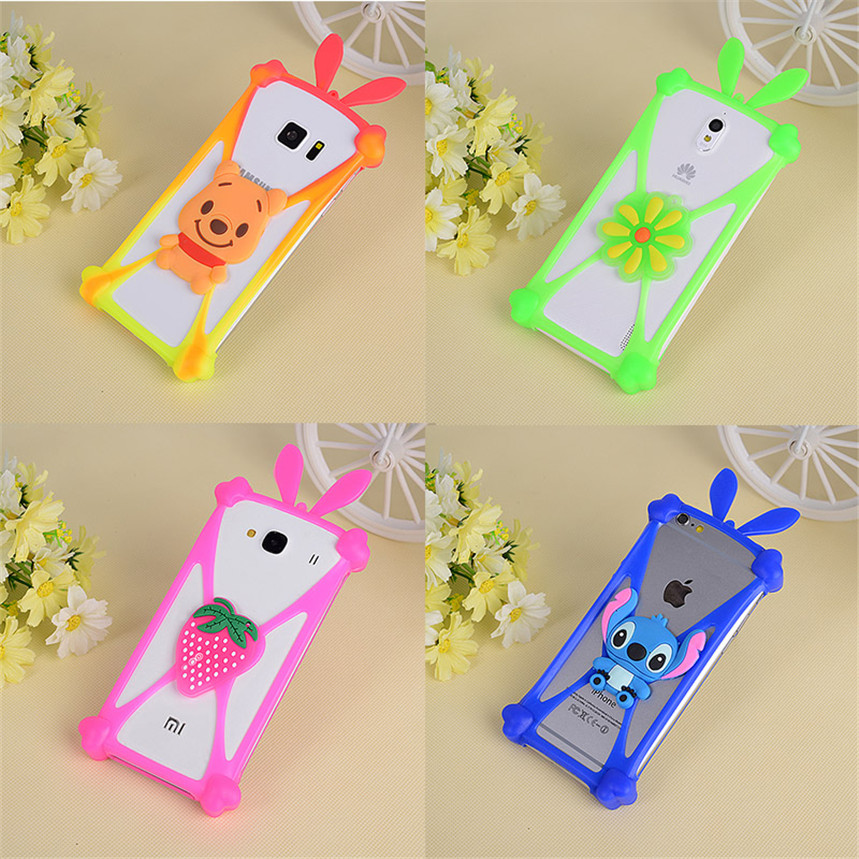 Cute Cartoon Silicone Universal Cell Phone Holster Case Fundas For Qumo Quest 510 Ritzviva S500C SENSEIT E500 Tele 2 Mini ...
