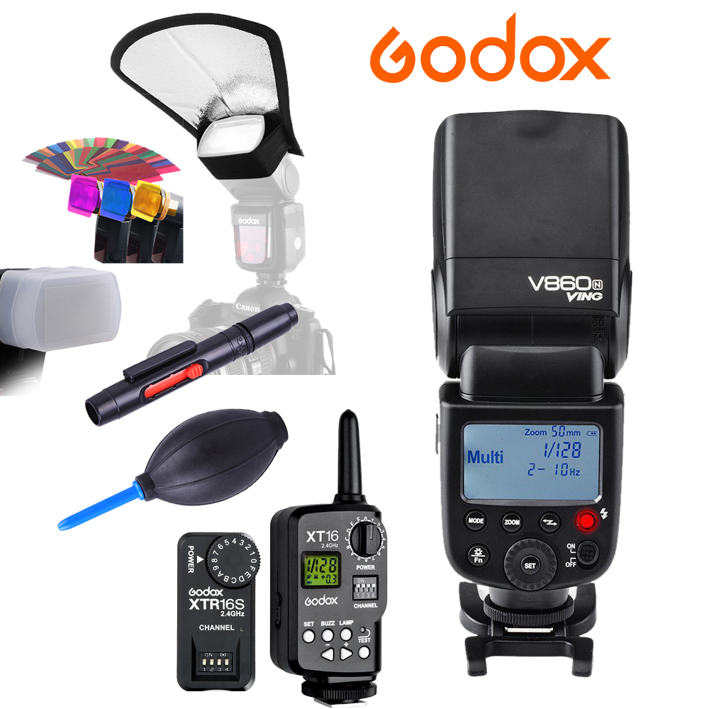 Godox VING V860N V860 I-TTL HSS Master Li-ion Flash FT-16S KIT Speedlite 1/8000s for Nikon D800 D90 D600 D7000 D7100 D4 D4S godox ving v860c ttl li ion high speed speedlite flash speedlight godox ft 16s wireless flash trigger kit for canon dslr
