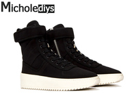 Handmade Brand High Boots Kanye West Shoes FOG Leather Casual Seasons Mens Platform Sexy Motorcycle Black