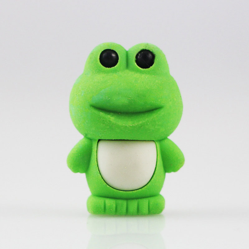1X Cartoon Assemble Eraser Mini Frog Modelling Eraser Children Stationery Gift Prizes Kawaii School Office Supplies Papelaria