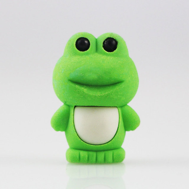 1x Cartoon Emble Eraser Mini Frog Modelling Children Stationery Gift Prizes Kawaii School Office Supplies