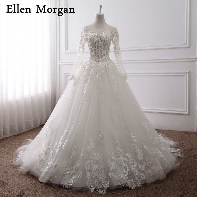 Long SleeveS Ball GownS Wedding Dresses 2018 Indian Real Photos ...
