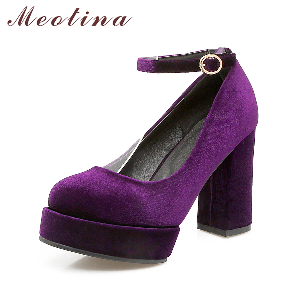 Meotina Shoes Purple Platform Ankle-Strap Thick-Heels Velvet Women Pumps Blue Black Footwear