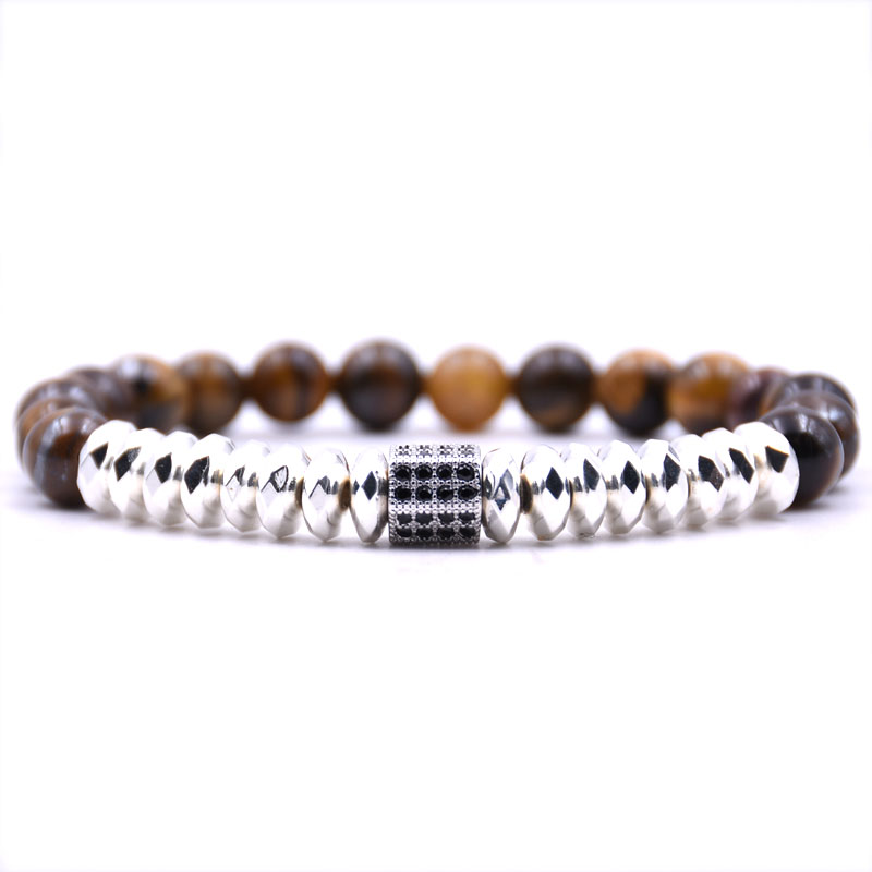 5 colors 8mm Natural stone beads bracelet for women Hematite Silver Micro inlay Zirconia Six Prism men bracelet jewelry in Strand Bracelets from Jewelry Accessories