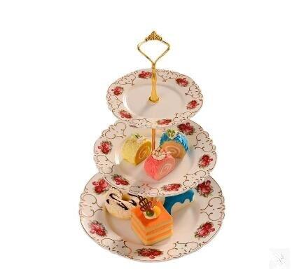 Estilo Europeu de cerâmica pastelaria stock, coração prato, bandeja de doces, cerâmica, três camadas prato de frutas secas, rack de bolo, bandeja - 4
