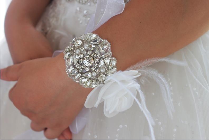 Handmade crystal bridal bracelet, rhinestone bracelet, wedding bracelet, bridal cuff, custom luxury feather bracelet flowers graceful faux crystal cuff bracelet