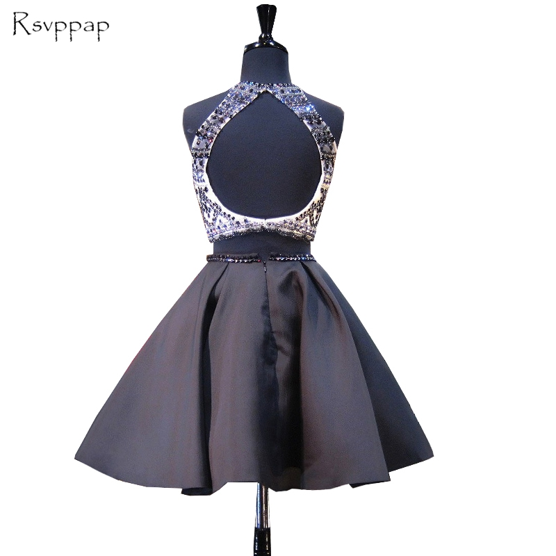 Stunning Two Piece 8th Grade Prom Dresses Scoop Neckline Beaded Backless  Black Short Homecoming Dress 2017-in Homecoming Dresses from Weddings &  Events on ...