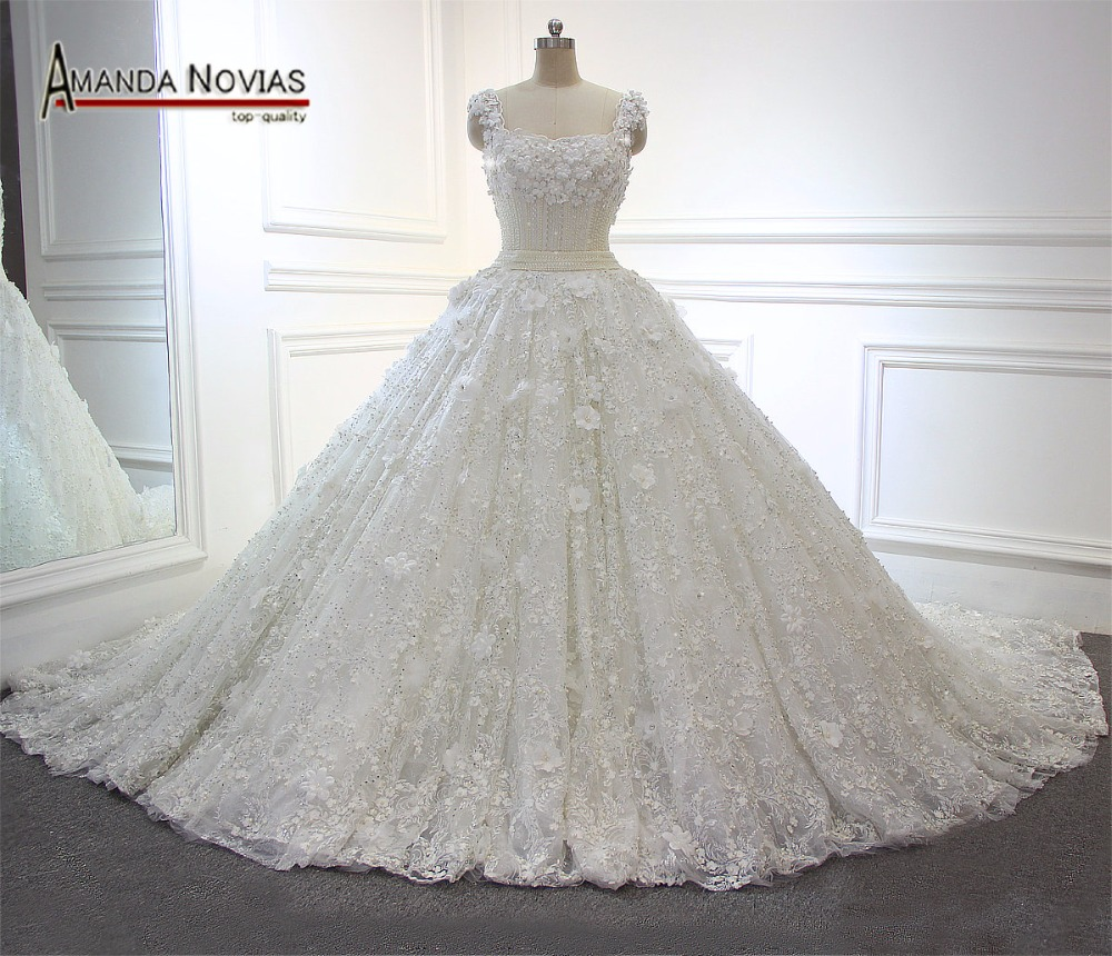 Amanda Novias New Luxury Heavily Beaded Top Real Photos Wedding Dresses With Long Train 2017