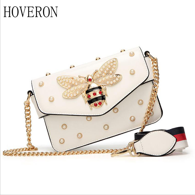 HOVERON Ladies bag 2019 luxury rhinestone bee wallet handbag small chain Messenger bag ladies evening party bag flip bag summer