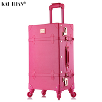 20/24/26 inch rolling luggage set Women suitcase on wheels PU leather pink fashion Retro trolley cabin suitcase with wheel girls