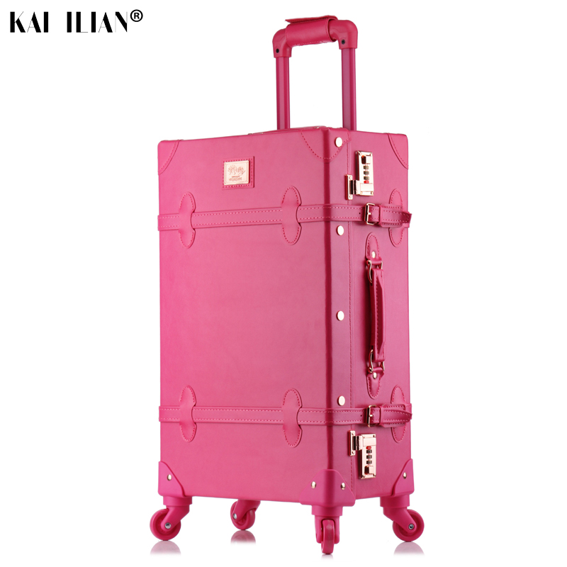 20/24/26 inch rolling luggage set Women suitcase on wheels PU leather pink fashion Retro trolley cabin suitcase with wheel girls20/24/26 inch rolling luggage set Women suitcase on wheels PU leather pink fashion Retro trolley cabin suitcase with wheel girls