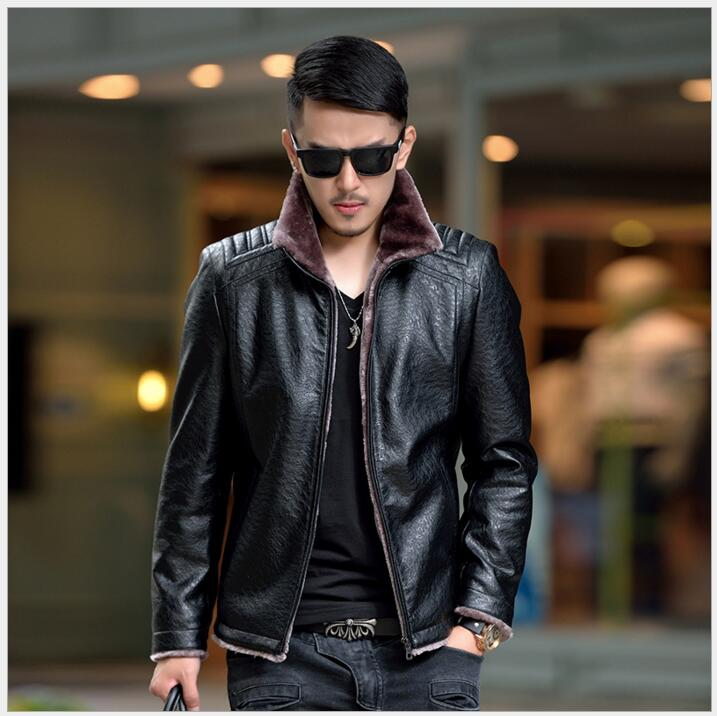 Hot Sale Winter Men Large Size Thick Leather Garment Casual flocking Leather Jacket Mens Clothing Leather Jacket Men M-5XL