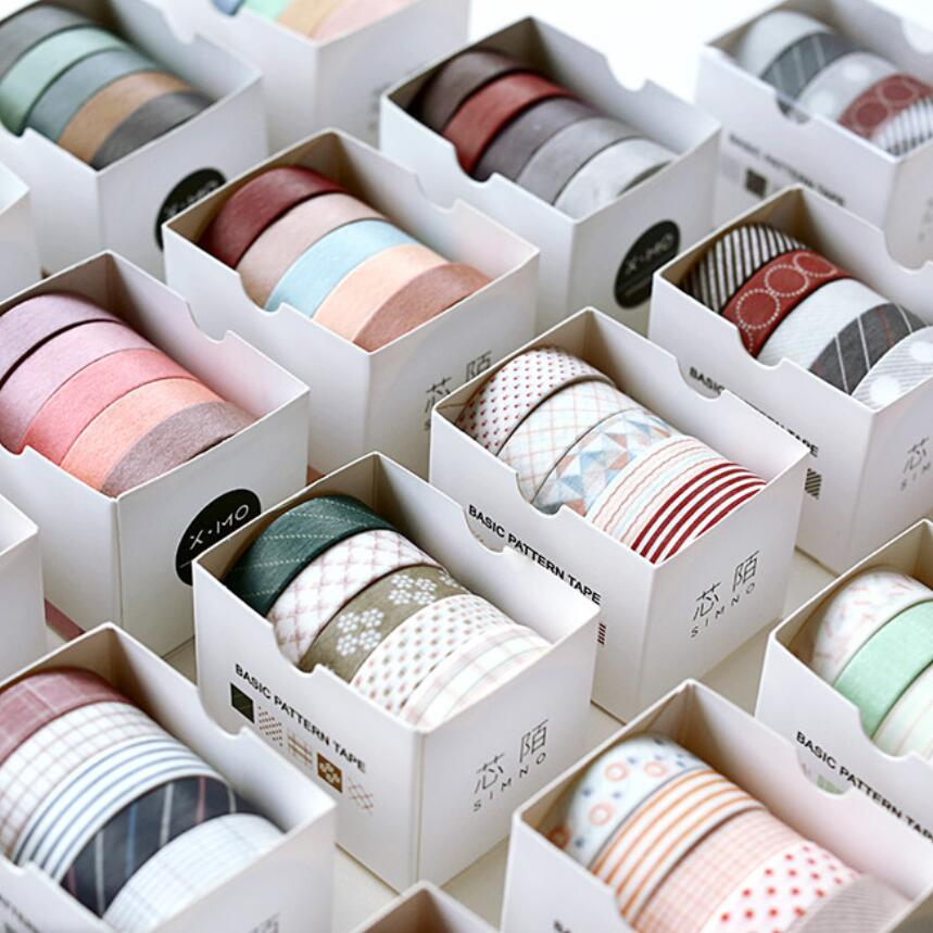 5Pcs/pack Striped/grid/flowers Basic Solid Color Paper Washi Tape Adhesive Tape DIY Scrapbooking Sticker Label Masking Tape Tool