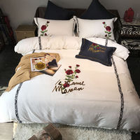 Black White king queen size Luxury Bedding sets 60s egyptian cotton Rose embroidered bed sheet set bed duvet cover pillow 36