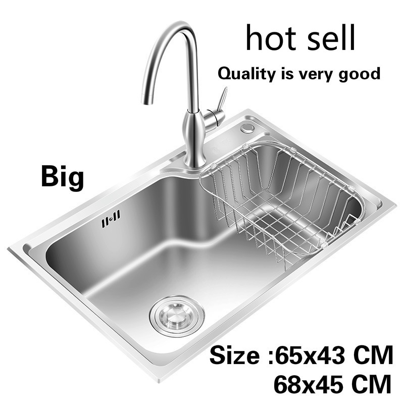 Free shipping Household high quality big kitchen single trough sink food grade 304 stainless steel hot sell 65x43/68x45 CMFree shipping Household high quality big kitchen single trough sink food grade 304 stainless steel hot sell 65x43/68x45 CM