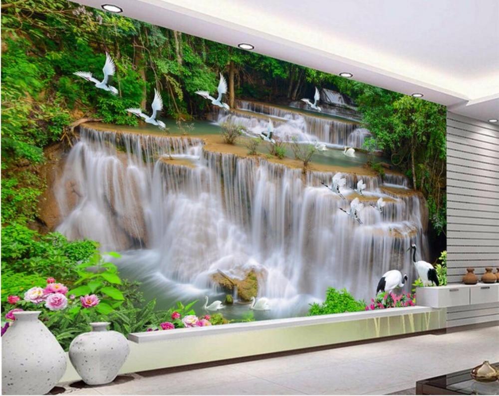 online get cheap 3d wallpaper waterfall river aliexpress com custom mural photo 3d room wallpaper waterfall river forest crane home decoration painting 3d wall murals