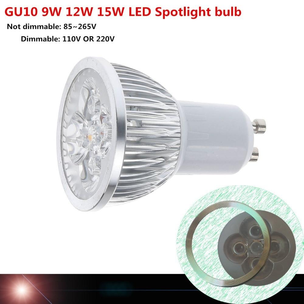 2018/10pcs Super Bright 9W 12W 15W GU10 LED Bulb 110V 220V Dimmable Led Spotlights Warm/Natural/Cool White GU 10 LED lamp