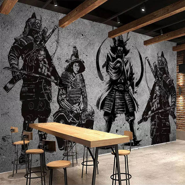 Us 8 97 52 Off Custom Murals Wallpaper 3d Japanese Samurai Cement Wall Creative Art Wall Painting Restaurant Cafe Background Wall Covering 3 D In