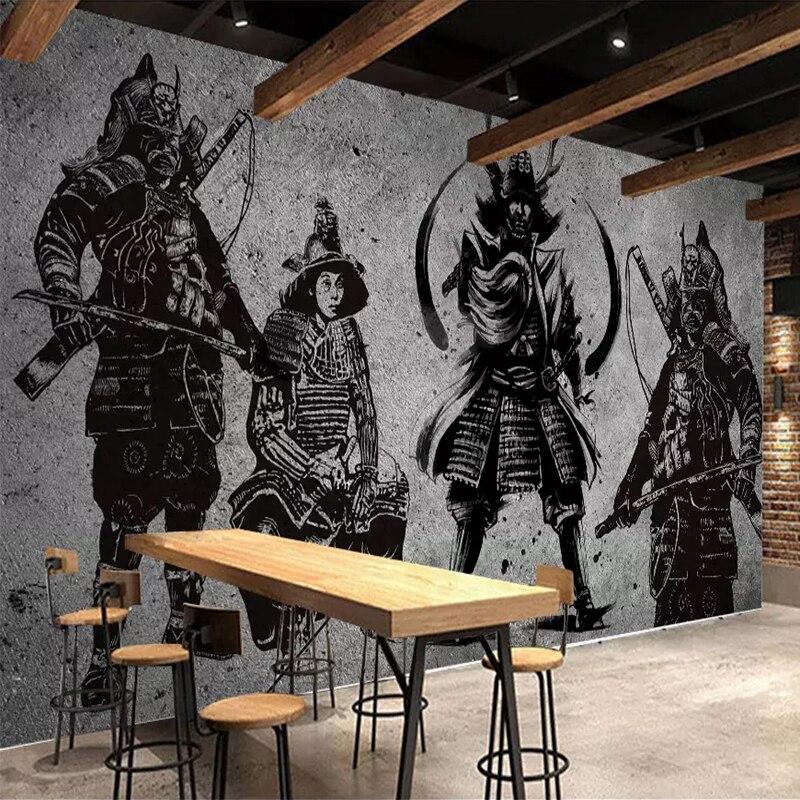 Papel pintado de murales personalizados 3D Samurai japonés pared de cemento pintura creativa de pared artística restaurante café revestimiento de paredes 3 D Pegatina autoadhesiva 3D para pared, papel pintado impermeable de ladrillo para habitación de niños, papel pintado con patrón, Mural, adhesivo de espuma de bricolaje para sala de estar y dormitorio