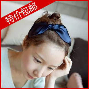 Quality satin navy blue belt bow wide headband hair bands hair band hair pin female high quality version