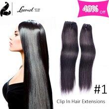 Straight Brailzina Virgin Black Clip In Human Hair Extensions 16-24inches Clip En Extensions De Cheveux Humains Silky Straight