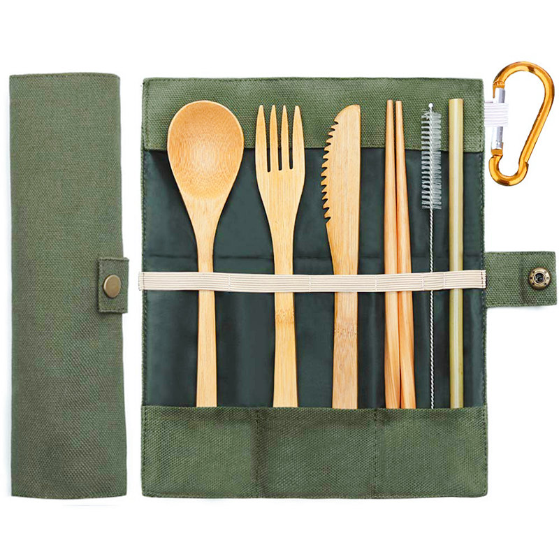 Bamboo Travel Utensils Sustainable Bamboo Cutlery Set Reusable Knife,Fork,Spoon,Biodegradable Straws Chopsticks Zero Waste Wrap Dinnerware Sets    - AliExpress