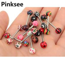 1PC New Hot Punk Colorful Stainless Steel Acrylic Ball Barbell Tongue Belly Ring Bars Piercing Body Jewelry Drop Free