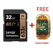 המקורי!!! Lexar 32GB SDHC כרטיס U1 64GB 128GB 256GB U3 SD כרטיס SDXC זיכרון כרטיס C10 95 m/s 633x עבור 1080p 3D 4K וידאו מצלמה