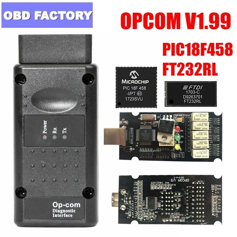 OPCOM 2018 Opel profissional OP-COM 1.99 Interface com PIC18F458 FTDI 1.99 OPCOM Opel Diagnostic Scanner OP com Scanner de OBD2