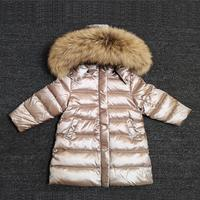 Russia Winter 90% White Duck Down Jacket Baby Thicken Long Clothes Boys Girls Hooded Overcoat Kids Warm Snowwear Baby Boy Parka
