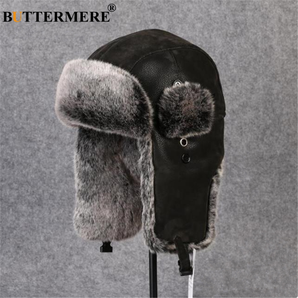 BUTTERMERE Bomber Hats Male Russian Winter Hat Ushanka Fur Black Leather Thick Warm Plus Mens With Ear Flaps Resist Snow