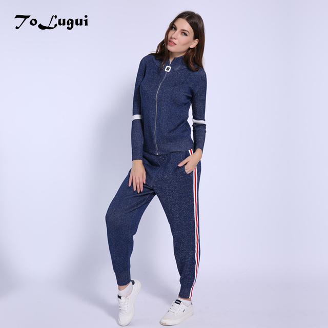 Women Tracksuit 2018 Autumn Casual Turtleneck Knit Sportwear Long Sleeve 2 Piece Pants Sets Stripe Knitting Suits Women
