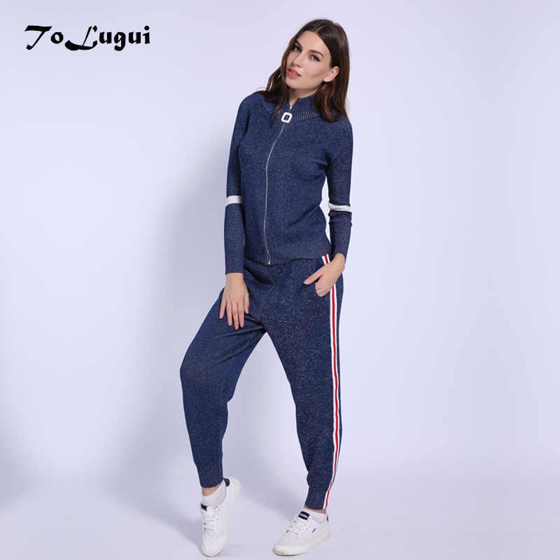 Women Tracksuit 2018 Autumn Casual Turtleneck Knit Sportwear Long Sleeve 2  Piece Pants Sets Stripe Knitting d64996eaa