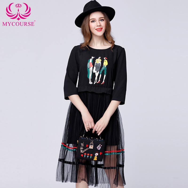 New Fashion Summer Work Office Casual Shirt Dress Splicing Pleated Tulle Prints T Shirt Dress Women Big Size Black Color Clothes