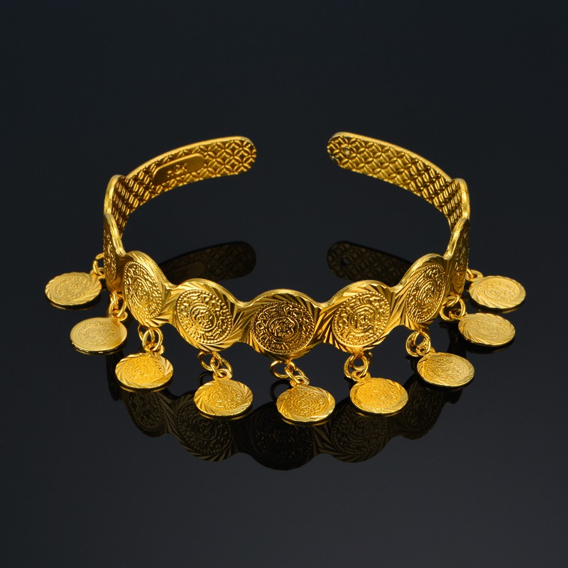 (Can Open) Gold Color Coin Bangles Women Middle Eastern Jewelry Arab Cuff Bracelets Metal Coins African gift
