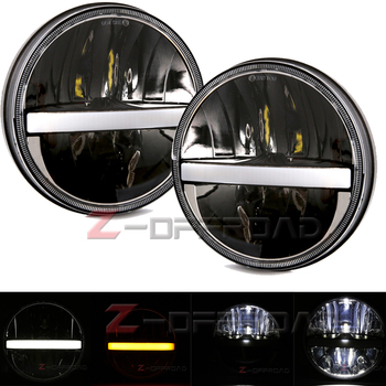 "For Land Rover Defender Black 7inch LED Headlight with Hi/Lo Beam White DRL 7"" LED Headlamp  for Jeep Wrangler Lamp"