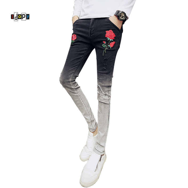 Idopy Korea Fashion Mens Floral Embroidery Black Jeans Graduate Color Distressed Ripped  ...